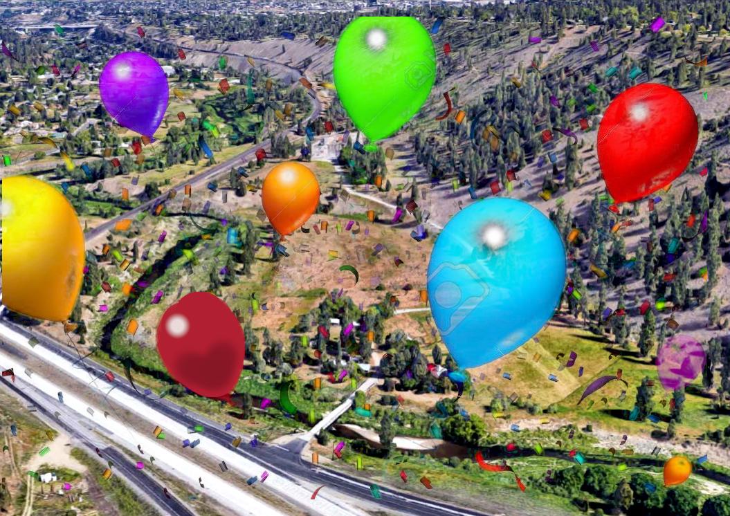 Kampa Farm with celebratory balloons